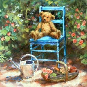 teddy print garden
