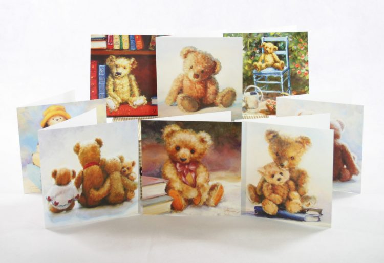 pack of 8 greetings cards teddy bear bruin gift celebration birthday anniversary teddies