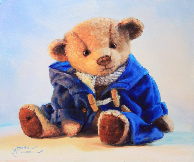blue duffle coat bear scarf chatty teddy bear