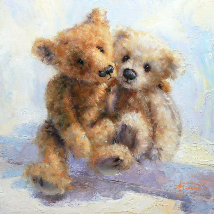 Together teddy bears in love romance