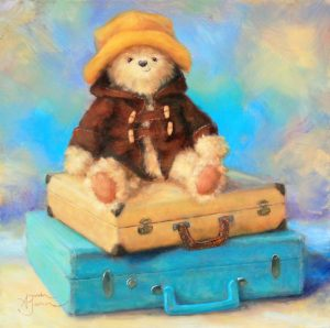 Vintage Voyages teddy bear with suitcases yellow blue