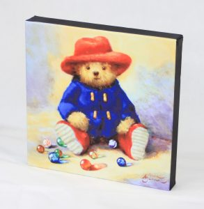 "10x10"" canvas bear duffle coat old fashioned toys marbles wall art"