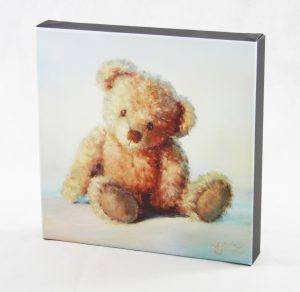 10x10 canvas art print baby teddy blue pink cute loveable collectable