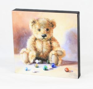 antique glass marbles and teddy bear fine art print on canvas