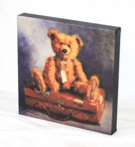 "10x10"" canvas wall art print old vintage teddy bear button ear brown leather suitcase shabby loveable character"
