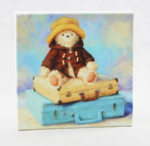 canvas 10x10 vintage suitcase bear blue yellow hat duffle coat
