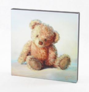 canvas 12x12 art print baby teddy blue pink cute loveable collectable