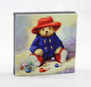 "8x8"" canvas bear hat coat blue marbles old toys wall art"