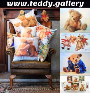 teddy bear cards cushions wall art original paintings amanda jackson