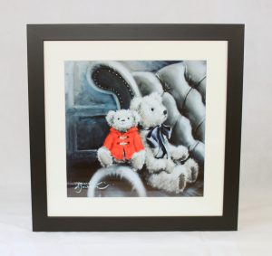 """16x16"""" framed print bears on wing back chair red monochrome unusual"""