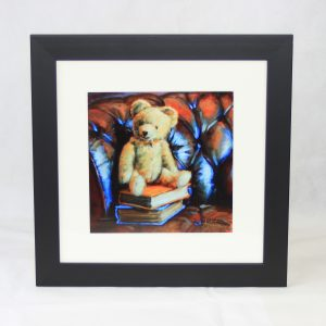 framed print brown chesterfield teddy books classic