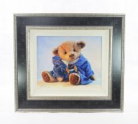 original oil painting duffle coat blue harrison bear