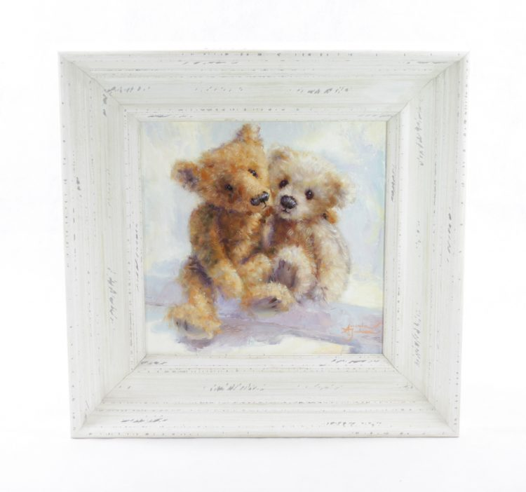 bears in love ogether romance original oil painting art