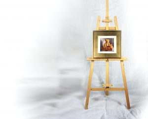 Teddy bear painting on easel by Amanda Jackson